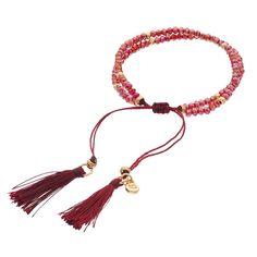 LC Lauren Conrad Birth Month Tasseled Slipknot Bracelet, Women's, Brt Red