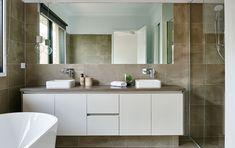 Hamlan Homes bathroom Grand Designs, Double Vanity, Bathrooms, House Ideas, Floor Plans, Homes, Houses, Bathroom, Bath Room