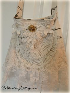 French script Lace and crochet gypsy BOHO handbag