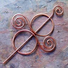 Copper Sweater Clip, Brooch, Scarf, Kilt, or Shawl Pin. Fibula, Barrette, or Hair Slide.