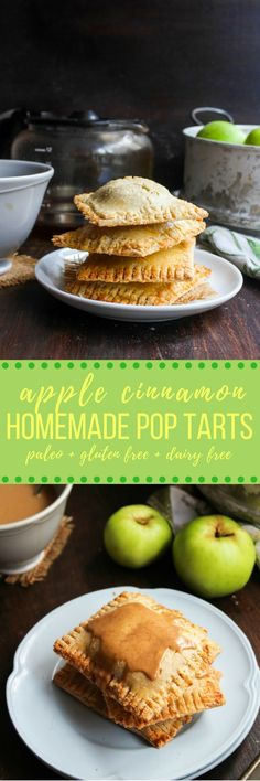 Apple Cinnamon Homemade Pop Tarts made with a grain free almond flour dough and naturally sweetened | paleo + dairy free + gluten free