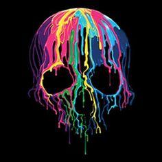 Melting Skull WOMANS T Shirt Neon Blacklight Fluorescent Skull Print 19423NBT2