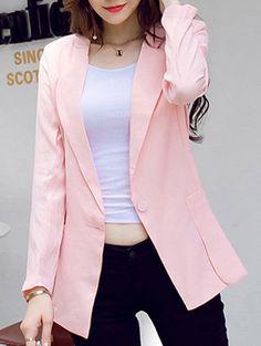 Elegant Single Button Pocket Patchwork Blazer For Women - PINK M