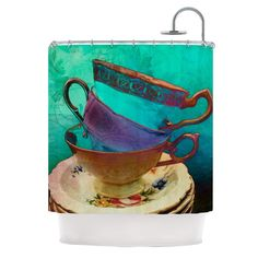 """Kess InHouse alyZen Moonshadow """"Mad Hatters T-Party I"""" Turquoise Shower Curtain"""