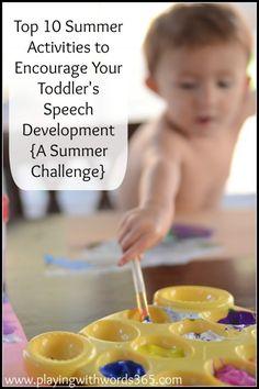 Top 10 Summer Activities to Encourage Your Toddler's Speech Development {A Summer Challenge} - Playing With Words 365 // Tons of activities! Toddler Speech, Toddler Play, Toddler Preschool, Toddler Activities, Toddler Stuff, Toddler Meals, Kid Stuff, Language Development, Child Development