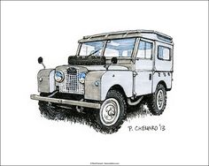 Land Rover sketch as part of the British Motoring Festival 2013 poster art. Pen and markers on watercolour paper X © Paul Chenard 2013 Landrover Defender, Land Rover Defender 110, Defender 90, Toyota Car Models, Toyota Cars, Land Rover Santana, Lander Rover, Land Rover Off Road, Chevy