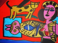 Guillaume Corneille - Femme et chat