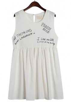 White Monogram Print Dress