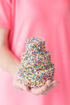 MINIATURE SPRINKLE BIRTHDAY CAKE [studiodiy] [funfetti, sprinkles, nonpareils, jimmies, dragee, sanding sugar, shaped sprinkles, crystal sugar, hundreds-and-thousands, perle en sucre, nib sugar, pearl sugar, hail sugar]