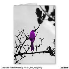 Lilac bird on black tree card