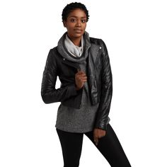 Homage funnel-necked hoodie with a leather jacket -- I might never wear anything else!