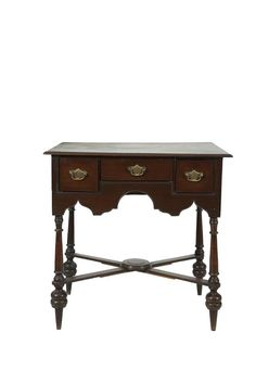 AN IRISH 19TH CENTURY MAHOGANY LOWBOY, by Butler of Dublin, in early Georgian style, the moulded rectangular top above one long and two short frieze drawers, wavy apron, supported on turned legs and cross frame stretcher. 77cm wide