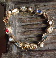 Vintage Goldtone Ornate Colorful Stone Bracelet Layering Stacking Retro Costume Jewelry Chain Link Boho Chic by MarveltyVintage on Etsy