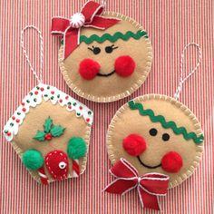 Gingerbread Christmas Ornaments / Felt Gingerbread Ornaments / Set of 3 / Xmas Tree Ornaments / Gingerbread Xmas Decoration / Handmade - Women Weaves Felt Christmas Decorations, Christmas Ornament Crafts, Christmas Sewing, Felt Crafts, Christmas Crafts, Tree Decorations, Felt Diy, Holiday Decor, Homemade Christmas Gifts
