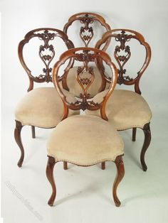 Set 4 Victorian Walnut Balloon Back Chairs Classic Furniture, Furniture Styles, Unique Furniture, Cheap Furniture, Vintage Furniture, Furniture Design, Industrial Furniture, Victorian Dining Chairs, Dinning Chairs