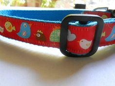 Red Birds 1  Dog Collar  Adjustable and by FourPawsJewelry on Etsy, $15.00