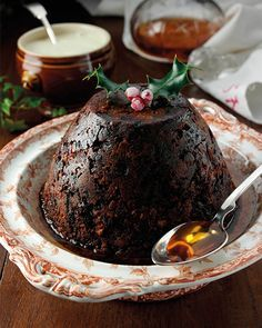 Downton Abbey Christmas Pudding with Brandy Butter Hard Sauce - http://www.sweetpaulmag.com/food/downton-abbey-christmas-pudding-with-brandy-butter-hard-sauce #sweetpaul