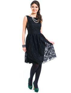 Rochie dantela creata Negru