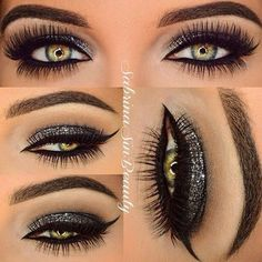 Smokey silver eyes - makes hazel eyes stand out.
