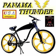 """ULTRA HOT 29"""" GAS TANK BIKE FOR 2-STROKE 66CC/80CC MOTORIZED BICYCLE KITS   eBay Bike Engine Kit, Motorised Bike, Motorized Bicycle, Moto Bike, Aluminum Wheels, Thunder, Panama, Bicycles, Money"""