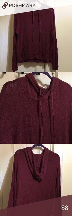 Wine colour cotton hoodie! Very soft and cozy Great pullover hoodie with pocket! This sweater was only worn a handful of times. essentials by full tilt Sweaters