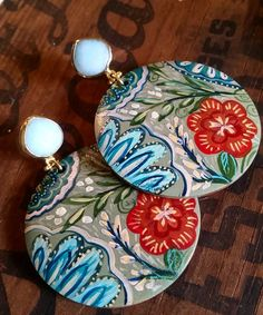 Handpainted Wood Light Green Earrings with Brilliant Coral Flower, Light Blue and Turquoise Highlights, Turquoise Jade Post Bezel