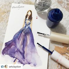 """#Repost @artclaytion with @repostapp. @sofiaresing in @zuhairmuradofficial , Mixed media on Paper , Feb 2016."""