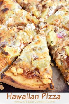 Delicious Hawaiian Pizza using Kalua Pork, goat cheese, bbq sauce and more! Even the crust is easy to make for this incredible dinner idea!