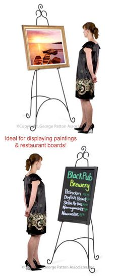 Floor Easel With Ornate Details Height Adjule Hooks 18 X 76 Inches Black