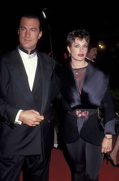 Model Kelly LeBrock and actor Steven Seagal attending the premiere of 'Out For Justice' on April 10 1991 at Mann Village Theater in Westwood...