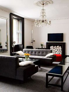 Modern Georgian Interior Moulding Fireplace Grey And White