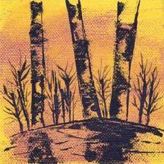 Trees. Acrylic, 4 x 4. © 2014 Sheila Delgado