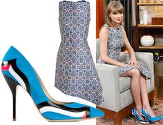 Taylor Swift wearing an Osman tile brocade dress & Paul Andrew wavy patent striped pumps, December 2014