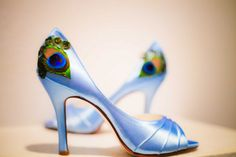 Light Blue Satin Peep Toe Pleated Peacock Pump  by LaPlumeEthere, $85.00