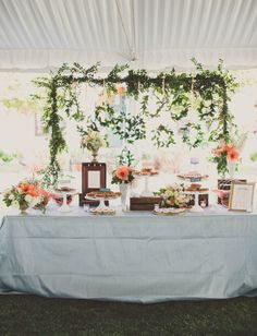 Dessert bar with pies. Planning by Beau & Arrow Events, MOSS Vintage Rentals cake stands, flowers by Root 75