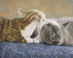 """Best Friends"", oil on panel, 8"" x 10"", by Lucie Bilodeau."