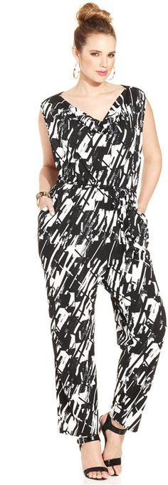 Plus Size Sleeveless Printed Jumpsuit