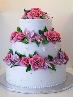 cake wedding cake roses and lillies cake ~ adore! Roses cake and cupcakes wedding cake Elopement wedding cake - cutting cake and cupcakes, . Wedding Cake Fresh Flowers, Wedding Dress Cake, Beautiful Cake Designs, Beautiful Cakes, Wedding Cakes With Cupcakes, Cupcake Cakes, Mini Cakes, Wedding Cake Cutting, Amazing Wedding Cakes