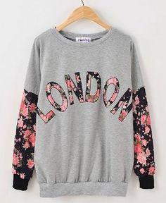 Contrast Florals LONDON Print Sweatshirt