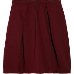 Carven Cotton-blend mini skirt (£110) ❤ liked on Polyvore featuring skirts, mini skirts, bottoms, faldas, saias, merlot, carven skirt, red mini skirt, red pleated mini skirt and red pleated skirt