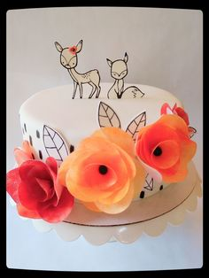 modern hand painted woodland animal cake with wafer paper flowers