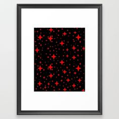 Bright Red Stars in Space , Cristmas Stars Framed Art Print ,Choose from a variety of frame styles, colors and sizes to complement your favorite Society6 gallery, or fine art print - made ready to hang. Fine-crafted from solid woods, premium shatterproof acrylic protects the face of the art print, while an acid free dust cover on the back provides a custom finish. All framed art prints include wall hanging hardware.