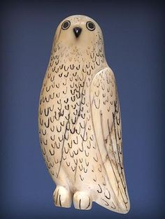 Owl Pendant: collected on Herschel Island, Inuvialuit region, Ivory, baleen, black colouring. Fitzgerald while stationed on Herschel Island as commander of the Royal Northwest Mounted Police Inuit Kunst, Arte Inuit, Inuit Art, Owl Art, Bird Art, Native Art, Native American Art, Owl Pendant, Owl Jewelry