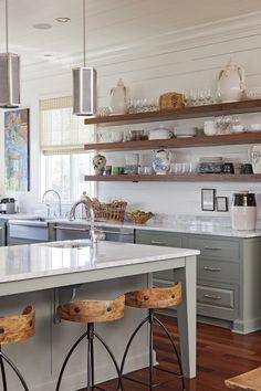 Gray cabinetry, shelving, Shiplap