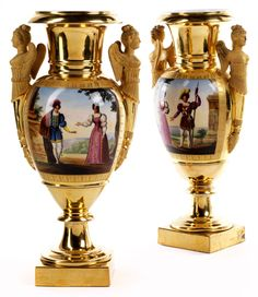 Pair of Empire porcelain decorative vases  Height: 42 cm each. Paris, Charles X, first half of 19th century