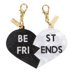 Edie Parker White Pearlescent Black Starlight Best Friends Broken Heart Charm Set Front View