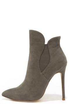 Very Superstitious Grey Suede Pointed Toe Booties