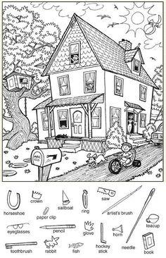Hidden Picture Games, Hidden Picture Puzzles, Hidden Pics, English Activities, Preschool Activities, Colouring Pages, Coloring Books, Hidden Pictures Printables, Highlights Hidden Pictures