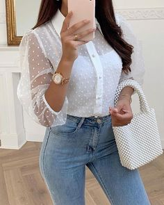 Sheer Mesh Sleeve Swiss Dot Casual Blouse woman fashion over fashion chic,woman fashion fashion going out,woman fashion fashion petite, Mode Outfits, Fashion Outfits, Womens Fashion, Fashion Trends, Fashion Guide, Fashion Ideas, Classy Outfits, Casual Outfits, French Outfit