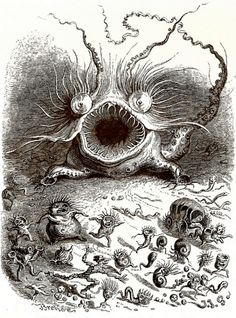 """J.J. Grandville, """"Volvox"""" from Un Autre Monde; A Volvox epidemic strikes a near-microscopic world of scale insects."""